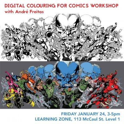Two drawings of superhero characters bursting from the center, one black and white line work, one with full colour