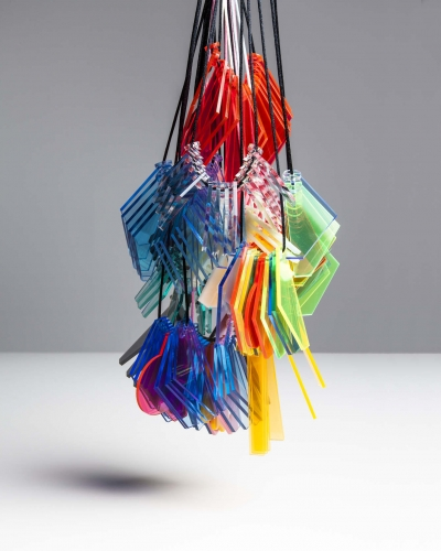 Bunch of hanging, colourful objects