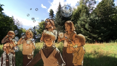 Multimedia artwork with children and bubbles