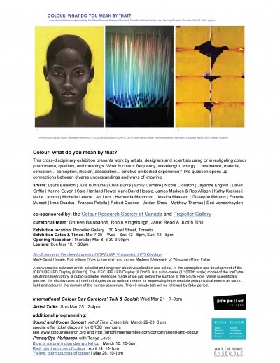 Colour: what do you mean by that? Mar 7 to 25 at Propeller Gallery