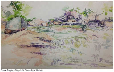 Watercolour painting of landscape
