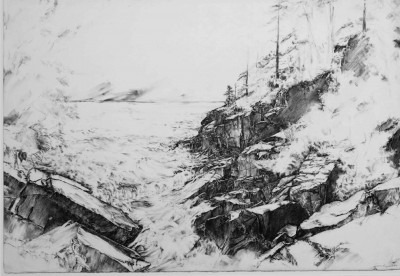 Black and white landscape illustration