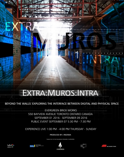 exhibition poster for Jay Irizawa's EXTRA:MUROS:INTRA