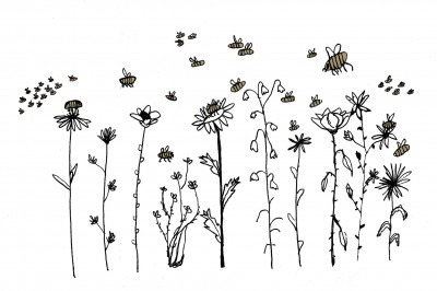 Illustration of flower and pollinators buzzing around