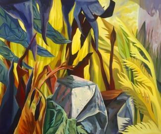 bright coloured stylised landscape