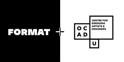 Left: White Format logo on black. Right: Black OCAD U CEAD logo on white