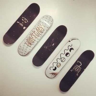 Row of skateboards