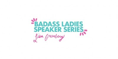 Badass Ladies Speaker Series logo in pink and blue