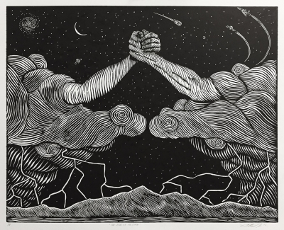 Black and White Woodcut, two hands extending from clouds and gripping