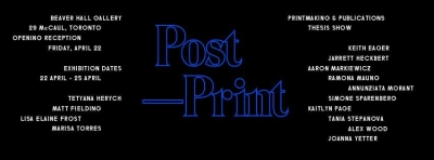 Post & Print poster, blue wireframe text on black background