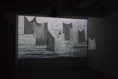 black and white textile based installation artwork