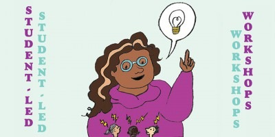 Cartoon of a student speaking a speech balloon which contains an image of a lightbulb to a group of people