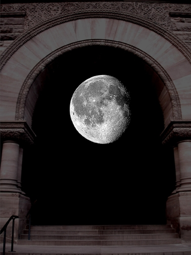 Image of a moon framed by an arched window