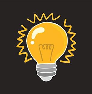 Illustration of a lightbulb on a black background