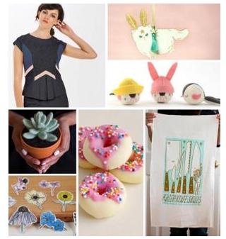 Collage of images of handmade items and woman wearing a black dress
