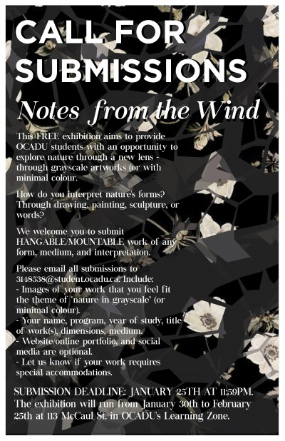 Call for Submissions, Notes From the Wind poster (containing the same information as the event posting)