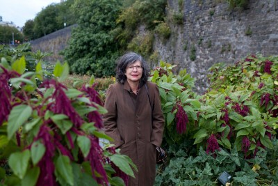 Photo of garden installation with artist in foreground