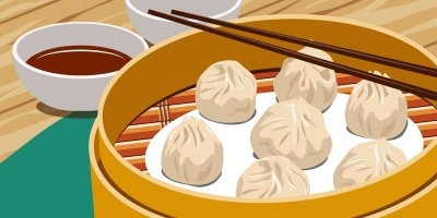 Vector illustration of Chinese steamed dumplings and chopsticks