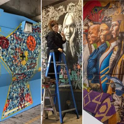 Three panels of murals