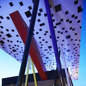 Photograph of the Sharp Centre for Design illuminated at night