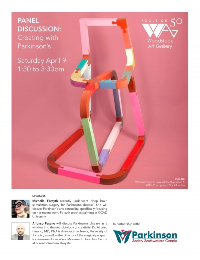 poster for the event with a multi coloured sculpture on pink background