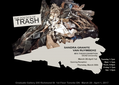image of a piece of garbage on black background - exhibition poster