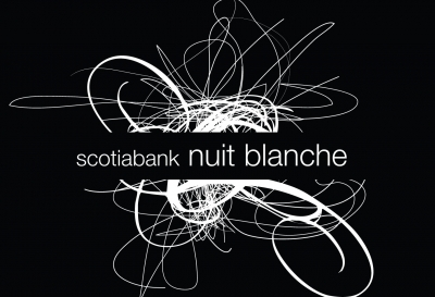 Image with white brush strokes against black background and the words scotiabank nuit blanche