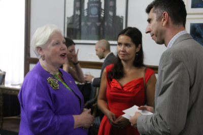 Lieutenant Governor Elizabeth Dowdeswell with artists and Dr. Robert Luke, OCAD U's VP Research & Innovation.