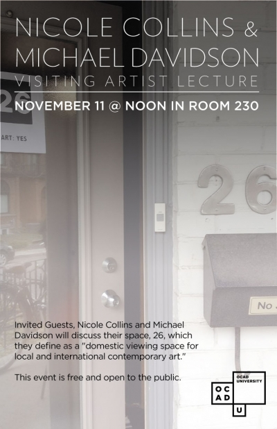 Nicole Collins & Michael Davidson lecture poster, photo and text details