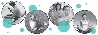 OCAD University wellness day banner showing images of seated massage, therapy dogs, yoga and meditation