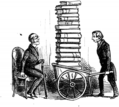 Illustration of a person holding a wheelbarrow with a stack of books