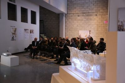 Open House guests at a presentation by Bortolotto Architects.