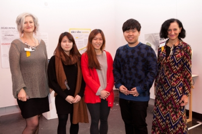 Design competition winners with Colleen Reid and Dr. Sara Diamond