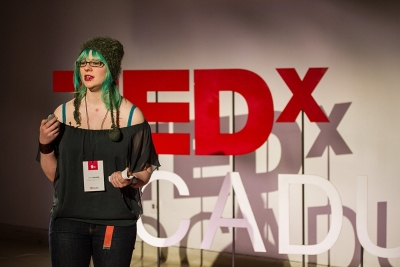 Lindy Wilkins speaks. View more photos by Mark Bennett and Stacey Croucher on the TEDxOCADU website.