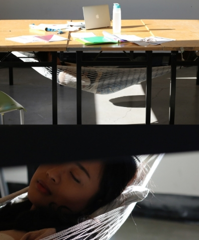 The Schnap – an under-the-desk hammock - in use