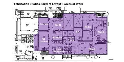 Floor plate diagram of areas of work for Fabrication Studios