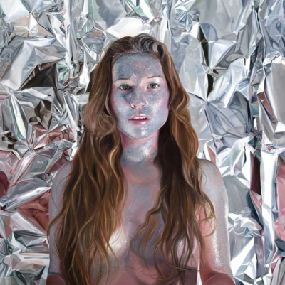 Realistic painting of a woman in front of crumpled foil