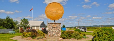 "Image of a monument to the ""loonie"" one dollar coin"