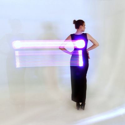 Image of dress by Robert Tu of MeU featuring embedded LED lights