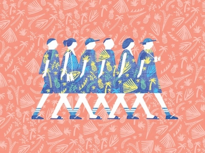 Illustration of women walking