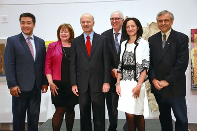Speakers at the funding announcement for Campus-Linked Accelorators at OCAD U.