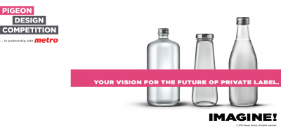 Pigeon brands design competition image with empty bottles on right side and pink header stating your vision for the future.