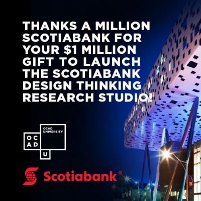 Image of the Sharp Centre, with message of thanks to Scotiabank