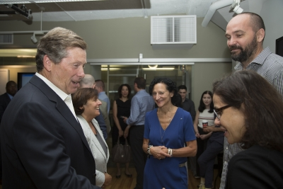 Mayor John Tory with Sara Diamond, Isabel Meirelles and Patricio Davila