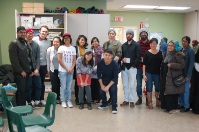 Industrial Design students with sewing collective members
