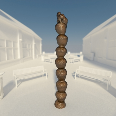 Image sculpture by David C. Salazar titled One-and-All, tower of acorns