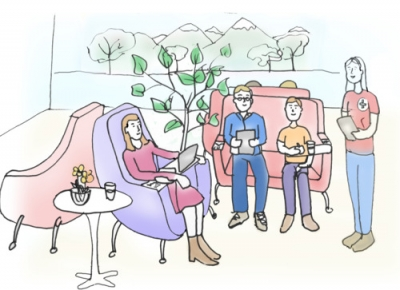 Illustration of a group of people sitting in a lounge space.
