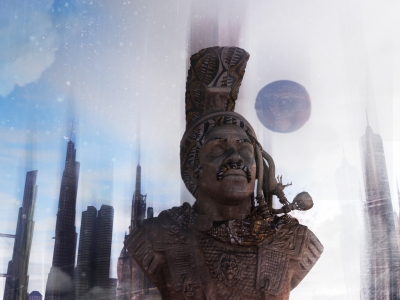 3-D rendering: Sculptural-type figure with cityscape in background