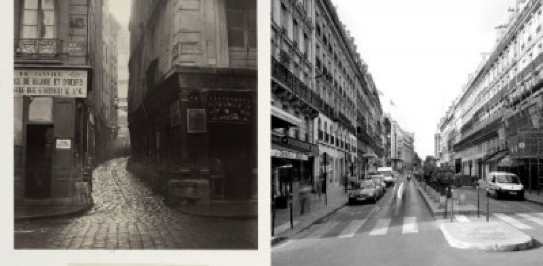 Then and now style image of a Paris Street