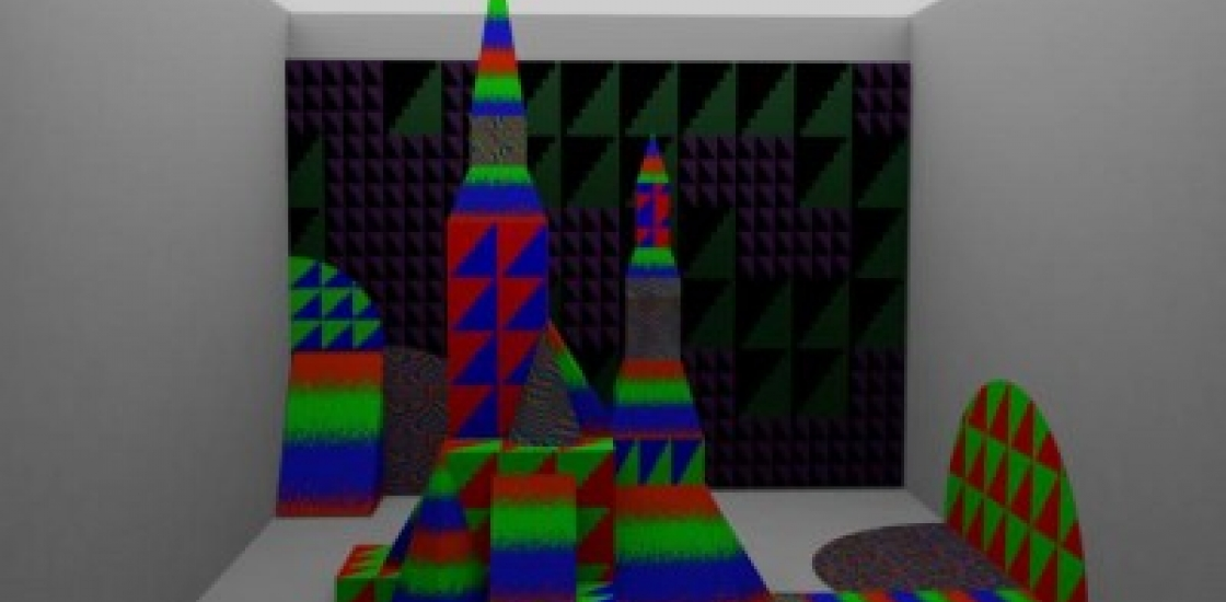 Towers made of red, green and blue blocks in a room